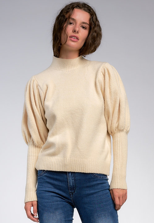 Ivory Puff Sleeve Sweater