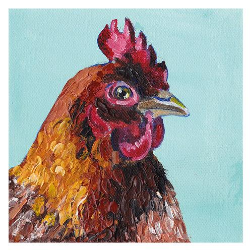 'Henrietta' Red Hen 'blank inside' greetings card