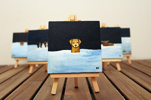 Winter Yellow Labrador Mini Canvas