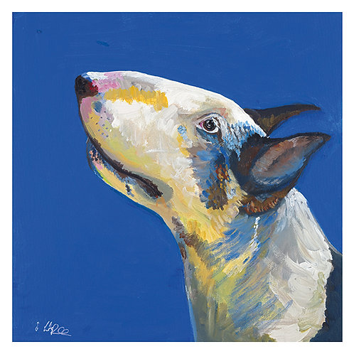 'Archie' English Bull Terrier 'bank inside' Greetings Card