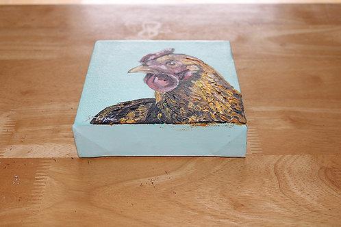 'Mavis' Red Hen box canvas original artwork