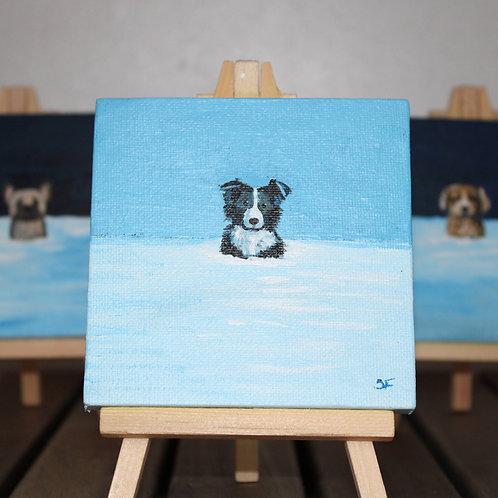 Winter Border Collie Mini Canvas