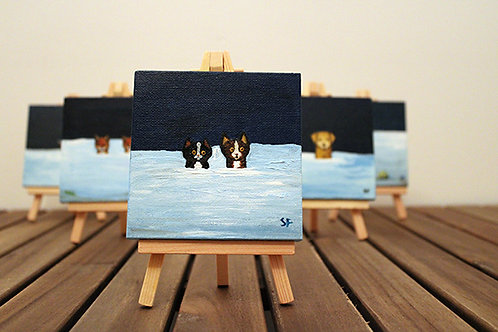 Winter Cats Mini Canvas - customise the colours