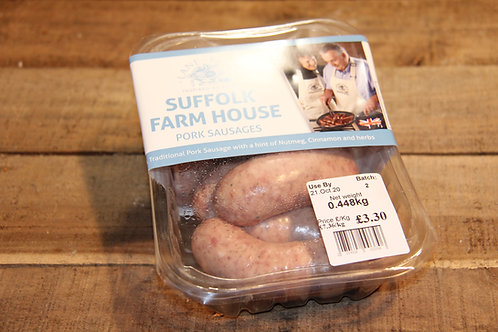 Suffolk Farmhouse Pork Sausages. Only available in store