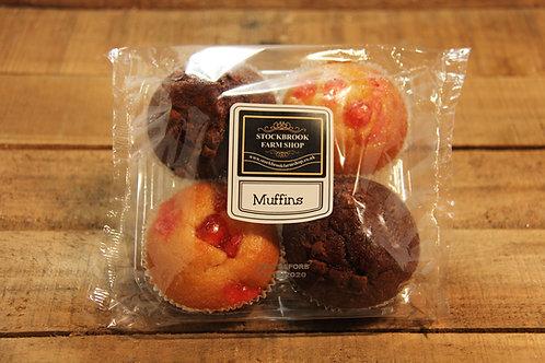 Stockbrook Farm shop Cherry & Choc  Muffins x 4