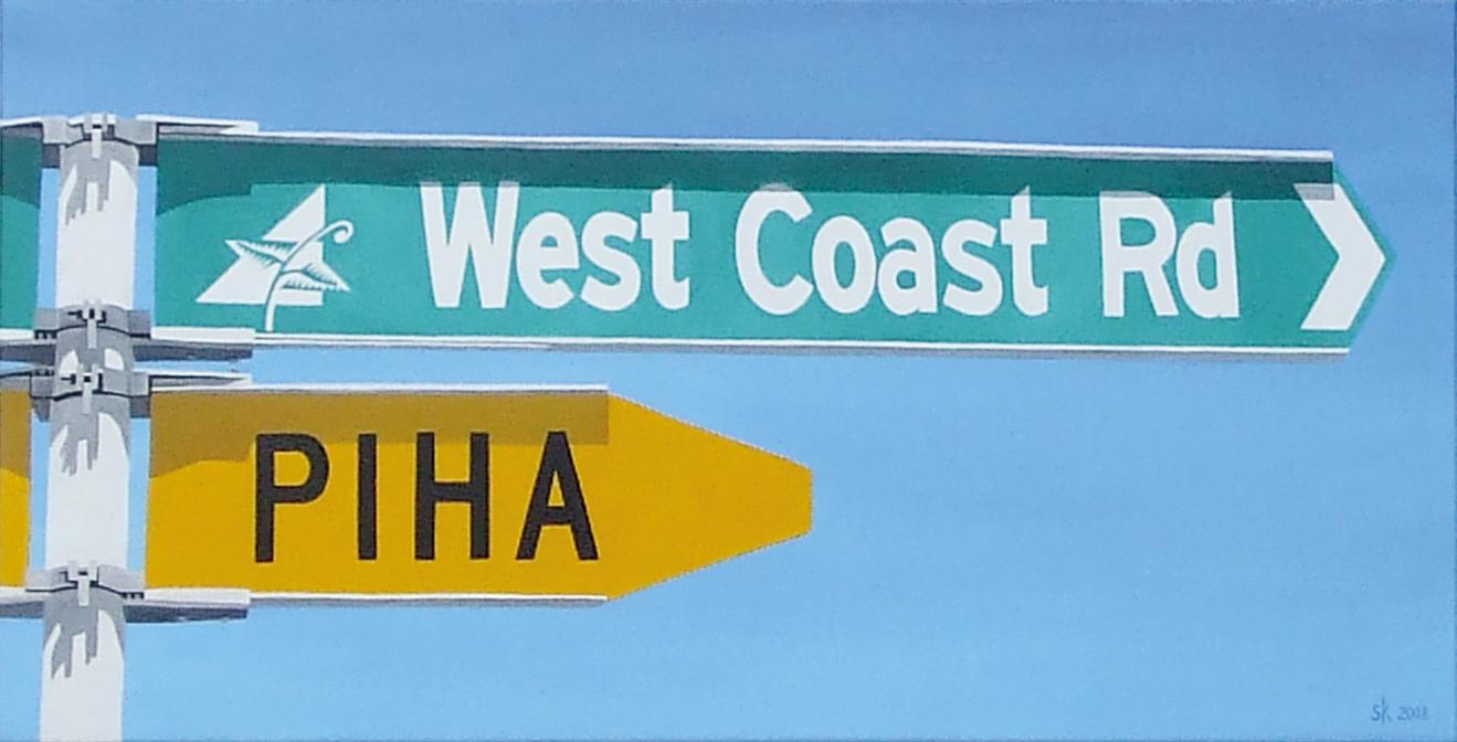 West Coast Road, Piha sign
