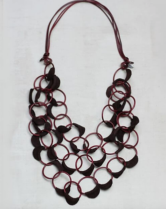 Burgundy Leather Cascading Statement Necklace