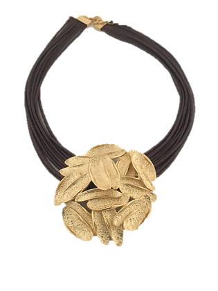 Gold Petals Leather Necklace