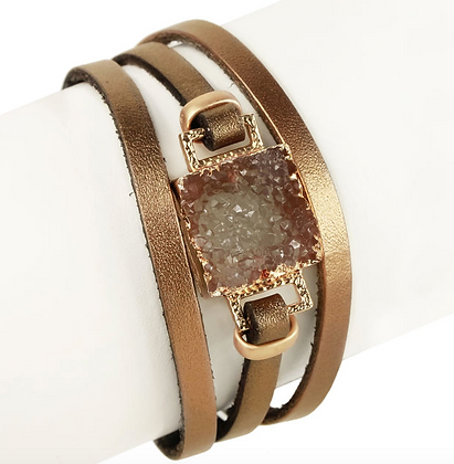 Square Druzy Leather Wrap Bracelet