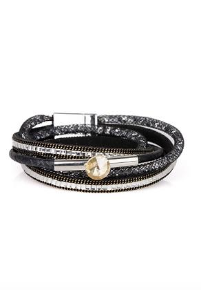Disco Double Wrap Bracelet - Black