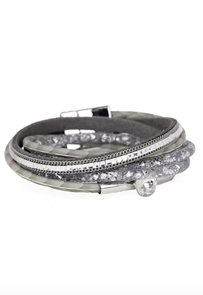 Disco Double Wrap Bracelet - Silver