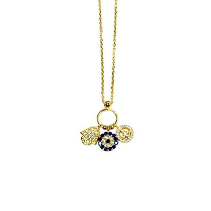 Peace, Eye, Protection Necklace Gold