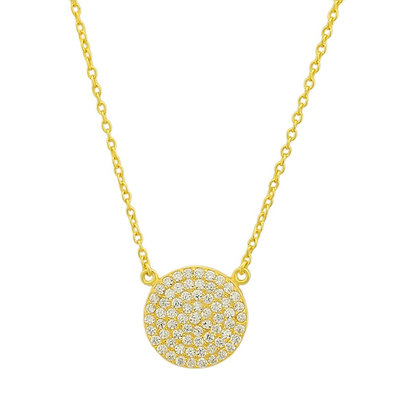 Sterling Silver Round Necklace in gold tone