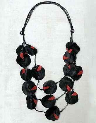 Dakota Leather Necklace - Red