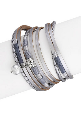 Blues and Silvers Leather Bracelet