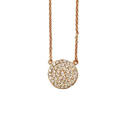Sterling Silver Round Necklace in Rose Gold Tone