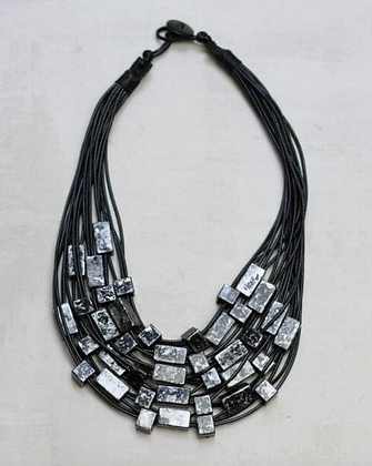 Multistrand Black and Silver Beaded Necklace