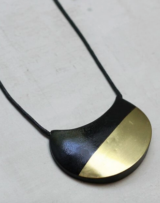 Adjustable Black and Brass Crescent Pendant Necklace