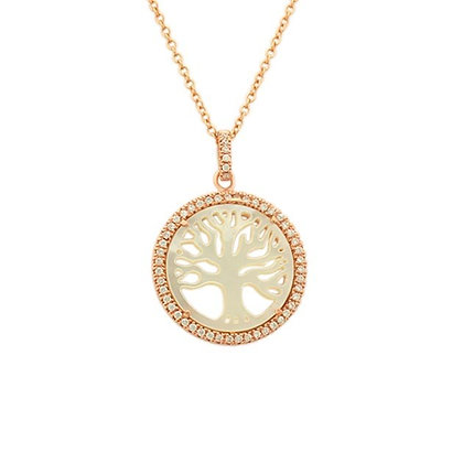 Mother of Pearl Tree of Life in Rose Gold