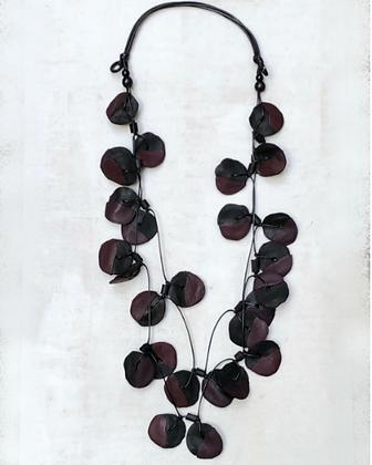Reagan Double Strand Necklace - Plum