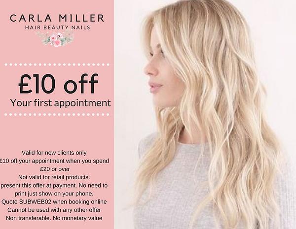 Carla Miller Salon Leeds New Client Offer