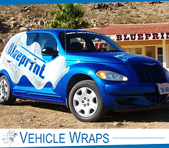 Blue full vinyl car wrap in Hesperia. Partial vehicle wrap, rapped in white and blue.