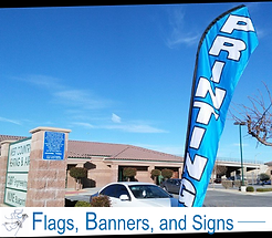 "A double-sided feather flag in Hesperia that says ""printing."" The bottom says ""flags, banners, and signs."""