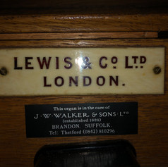 The 1906 Lewis name plate wil be added to St Mildred's console