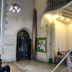 West Organ - 16 foot facade pipes temporarily removed during church refurbishment