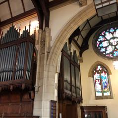 The Lewis organ's last day in situ at St Paul's URC.