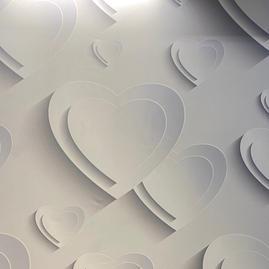 White 3D Hearts