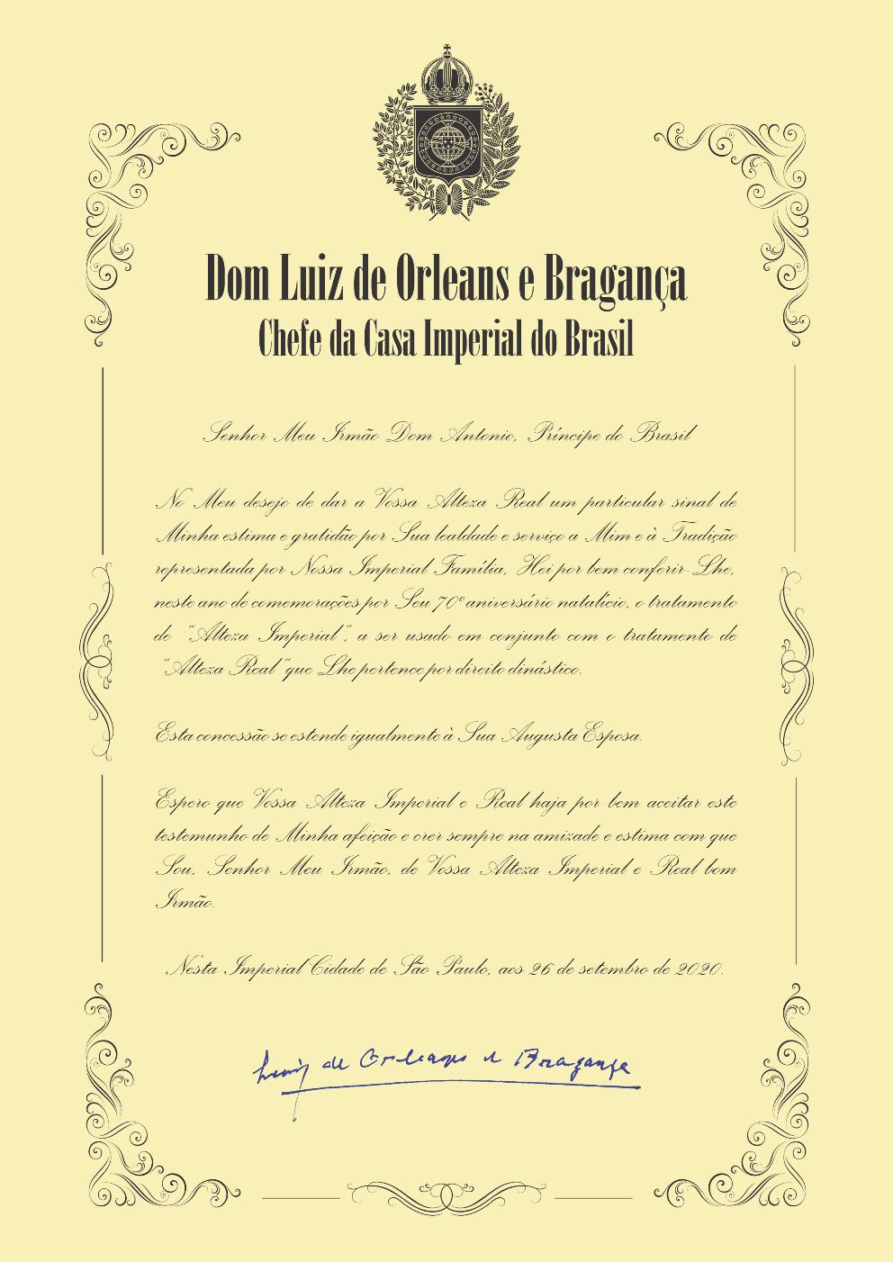 """Carta em que D. Luiz concede a D. Antonio o tratamento de """"Alteza Imperial"""""""