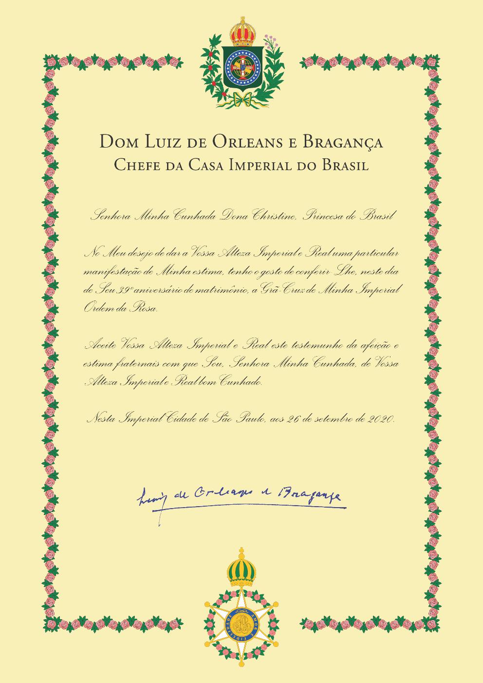 Carta em que D. Luiz concede a D. Christine a Grã Cruz da Imperial Ordem da Rosa