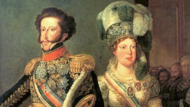Os Príncipes Dom Pedro e Dona Leopoldina em 1826, já como Imperadores do Brasil, em tela de Simplício Rodrigues de Sá