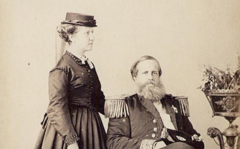 A Princesa Isabel com o pai, o Imperador Dom Pedro II em 1870 (Joaquim José Insley Pacheco/©Coleção Princesa Isabel)