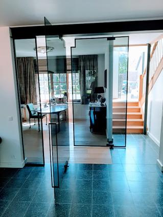 Steellook glazen deur in grijs glas