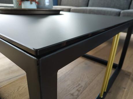 Tafelblad in dark grey gezuurd glas
