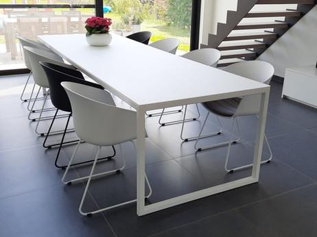 Glazen tafelblad in RAL9003