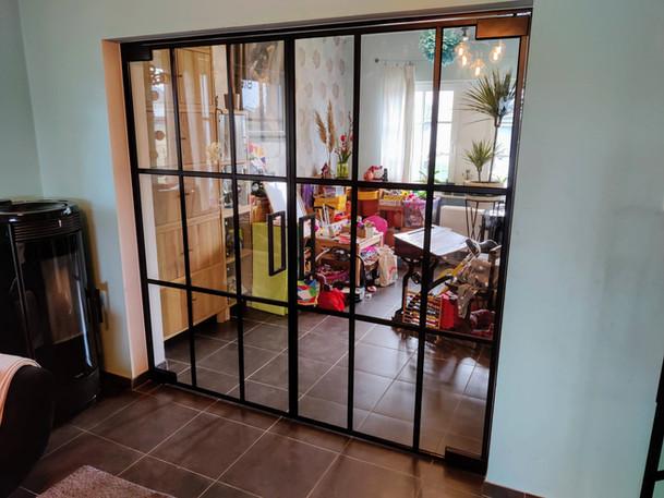 Dubbele steellook glazen deur