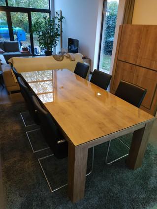 Glazen tafelblad op bestaande tafel