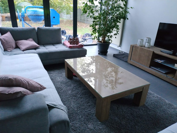 Glazen tafelblad op bestaand salontafel