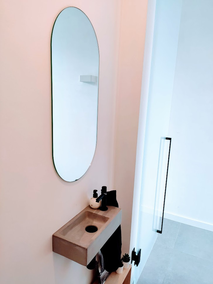 Spiegel met afgeronde hoeken