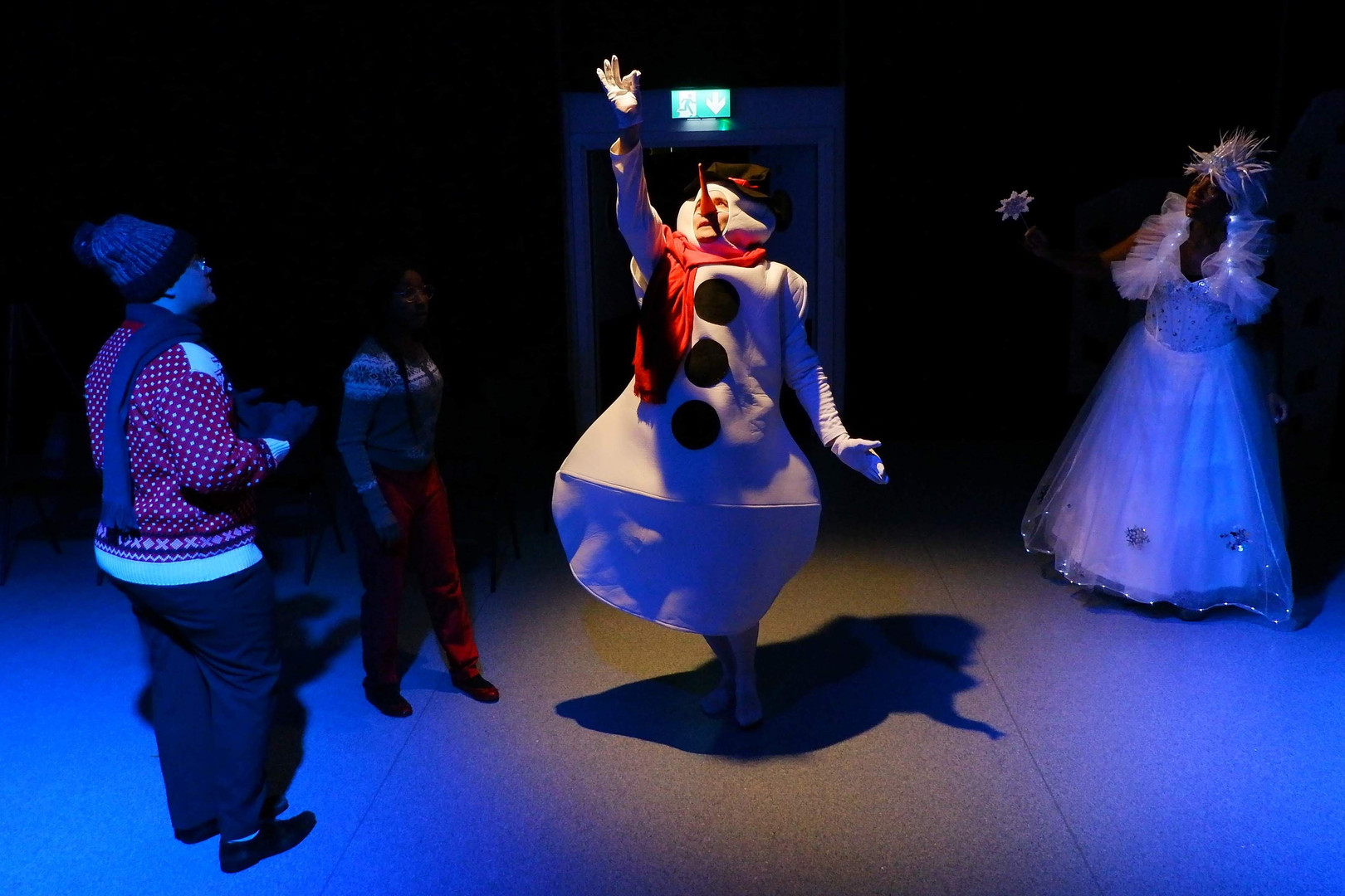 Snow Queen (Shireenah Ingram), Snowman (Hjalmar Norden), Kai (Bill Hastings) and Gerda (Jimand Allotey)