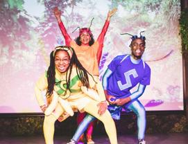 Anansi (Jimand Allotey), Aso (Laura Lake Adebisi) and Tukuma (Paul D Stephenson)