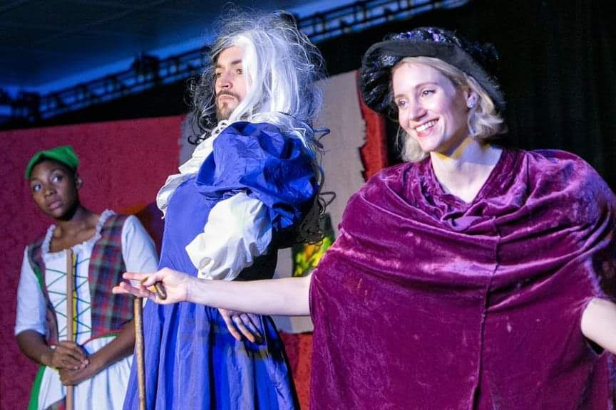 R-L: Cinderella (Shireenah Ingram), Ugly Sister 2 (Hjalmar Norden) and Wicked Stepmother (Poppy Pickles)