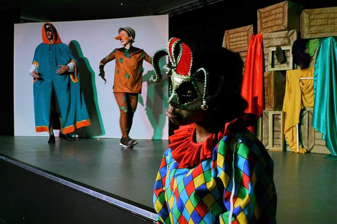 Pinocchio (Valeria Iacampo), Puppet Master (Hjalmar Norden) and Harlequin (Jimand Allotey)