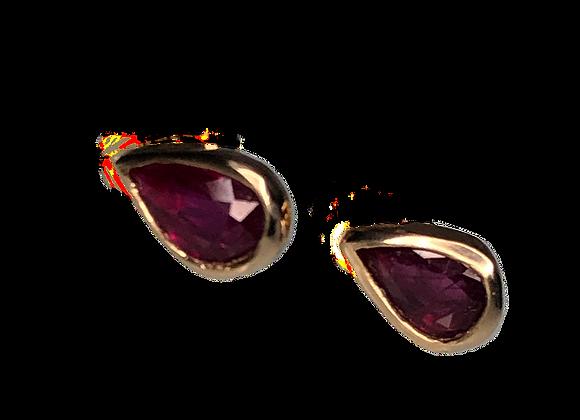 Pear Shape Ruby Studs | Pair