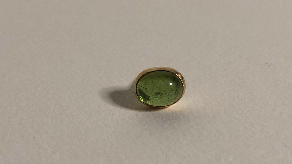 Oval Green Tourmaline | single stud | 18k