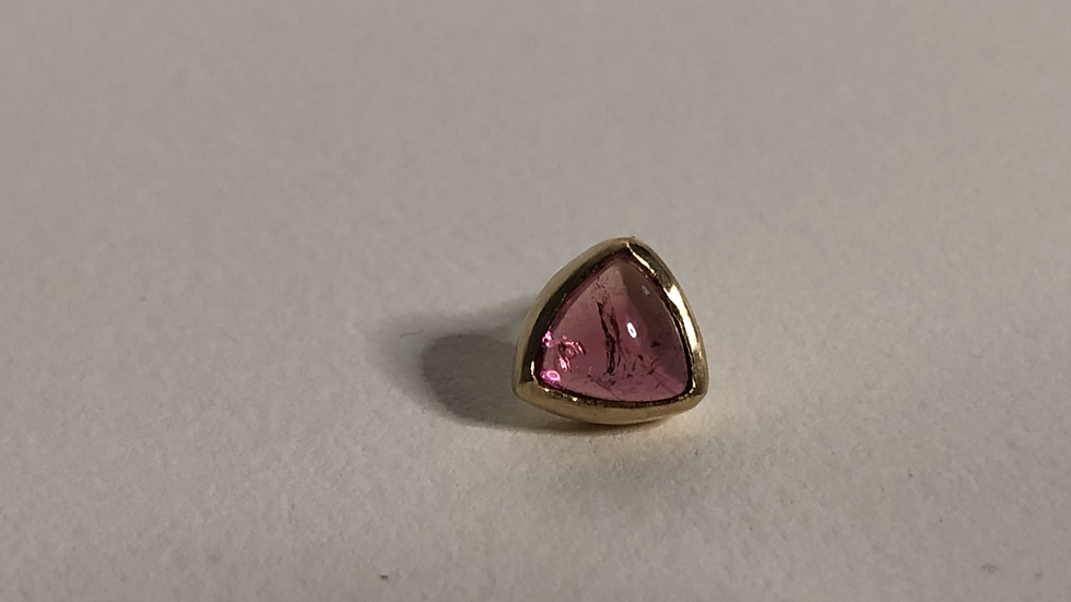 Triangle Pink Tourmaline | single stud | 18k