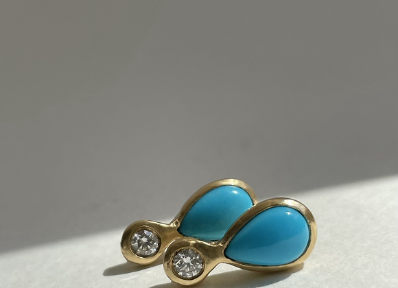 Sleeping Beauty Turquoise & Diamond Earrings